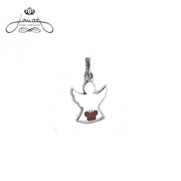 Pandantiv din argint  925/ Ingeras cu gravura fluture si email /  P619