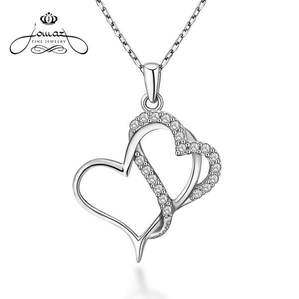 Pandantiv din argint 925 doua inimioare cu pietre zirconiu / P73.7