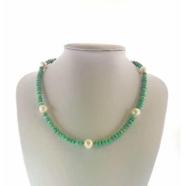 Colier cu pietre turcoaz si perle
